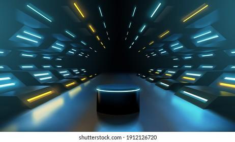 Neon futuristic podium or platform scene for product presentation, sci fi futuristic corridor interior illustration realistic vector