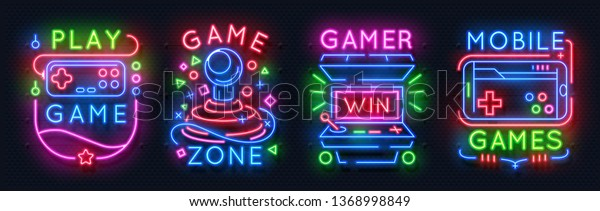 Neon Game Signs Retro Video Games Stock Vector (Royalty Free) 1368998849