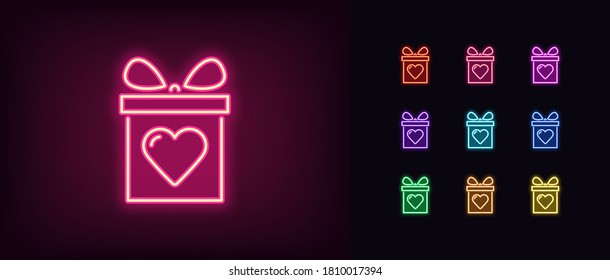 Neon gift box icon. Glowing neon gift sign with heart, present in vivid colors. Referral bonus, birthday present, freebie surprise, top donation. Icon set, sign, symbol for UI. Vector illustration