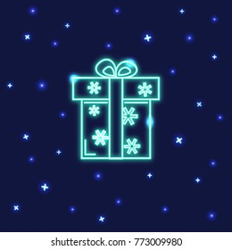 Neon gift box icon in line style. Shining present box with snowflakes on dark background.