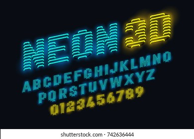 Neon glow 3d font vector illustration