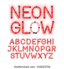 Neon Glow alphabet on white background vector illustration