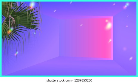 Neon glow ambient room and tropical palm. futuristic vaporwave aesthetic illustration background template