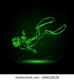 Neon glow diver girl linear silhouette in underwater space. Young girl snorkel underwater