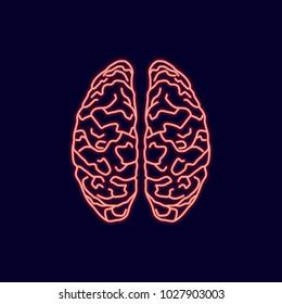 Neon glow icon of brains cerebral cortex on blue background