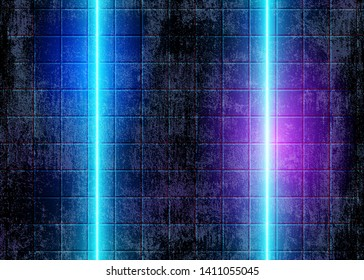 Neon Glow Lights, Futuristic 80s Background with Abstract Blue Electric Lines on the Concrete Grunge Wall, Conceptual Cyberpunk Style. Eps10 Vector Illustration – Vector.