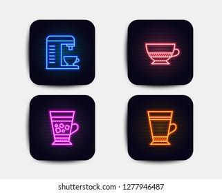 Neon glow lights. Set of Bombon coffee, Coffee machine and Frappe icons. Latte sign. Cafe bombon, Cappuccino machine, Cold drink.  Neon icons. Glowing light banners. Vector