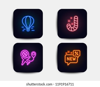 Neon glow lights. Set of Candy, Air balloon and Flight sale icons. New sign. Lollypop, Flight travel, Travel discount. Discount.  Neon icons. Glowing light banners. Vector