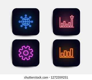 Neon glow lights. Set of Efficacy, Service and International globe icons. Report diagram sign. Business chart, Cogwheel gear, World networking. Financial market.  Neon icons. Glowing light banners