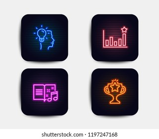 Neon glow lights. Set of Idea, Efficacy and Music book icons. Victory sign. Professional job, Business chart, Musical note. Championship prize.  Neon icons. Glowing light banners. Vector
