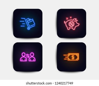 Neon glow lights. Set of Push cart, Communication and Piggy sale icons. Money transfer sign. Express delivery, Users talking, Discounts. Cash delivery.  Neon icons. Glowing light banners. Vector