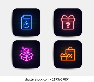 Neon glow lights. Set of Secret gift, Sale and Approved document icons. Shopping sign. Unknown package, Discount, Like symbol. Gifts and sales.  Neon icons. Glowing light banners. Vector