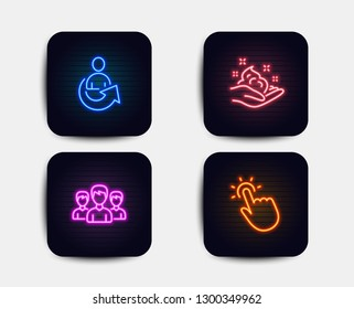 Neon glow lights. Set of Share, Group and Skin care icons. Touchpoint sign. Referral person, Group of people, Hand cream. Touch technology.  Neon icons. Glowing light banners. Vector