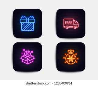 Neon glow lights. Set of Surprise, Sale and Free delivery icons. Christmas ball sign. Present with bow, Discount, Shopping truck. Snowflake.  Neon icons. Glowing light banners. Vector