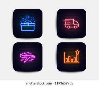 Neon glow lights. Set of Truck delivery, Present box and Airplane icons. Efficacy sign. Express service, Sale offer, Plane. Business chart.  Neon icons. Glowing light banners. Vector