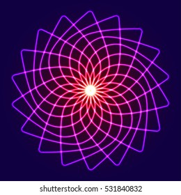 Neon glow symmetry element. Sacred Geometry. Circle of balance and harmony. Flower of life. Abstract psychedelic vector background.