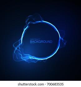 Neon glowing abstract equalizer shape. Vector futuristic illustration. Technology concept. Soundwave form visualization. Sound impulse. Audio vibrations.