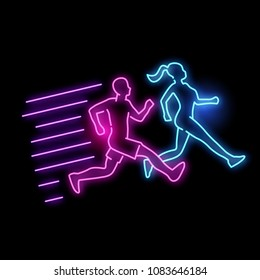 Neon glowing active running man and women light sign. vector illustration.
