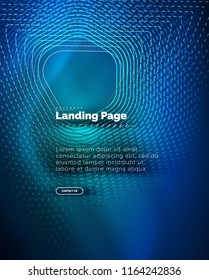 Neon glowing background for landing page. Vector illustration