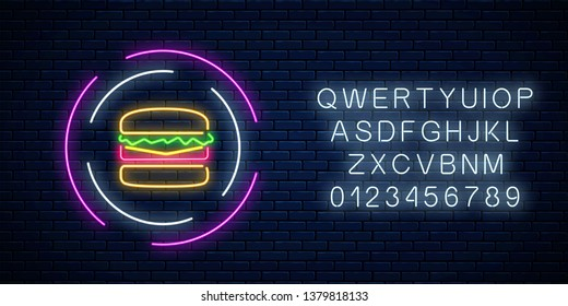 Neon glowing burger sign in circle frames with alphabet on a dark brick wall background. Fastfood light billboard symbol. Vector illustration.