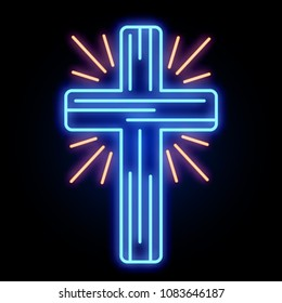 A neon glowing church cross light sign. Vector illustration.