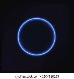Neon glowing circle.Element for advertising.Template