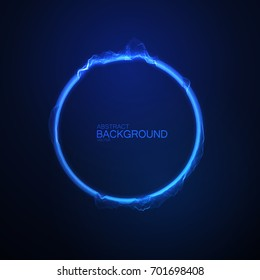 Neon glowing circular shape of particles. Vector technology illustration. Soundwave form. Luminous audio equalizer. Sound impulse visualization. Futuristic HUD element