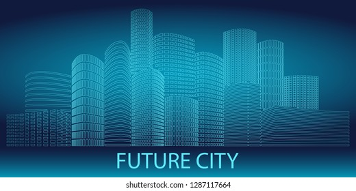 Neon glowing City of the Future at night. Skyscrapers and other buildings on dark blue gradient background. Urban scene. Vector illustration. Design element.