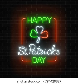 Neon glowing clover leaf sign in ireland flag colors on a dark brick wall background. Green shamrock as Irish national holiday symbol in circle frames. Vector illustration.