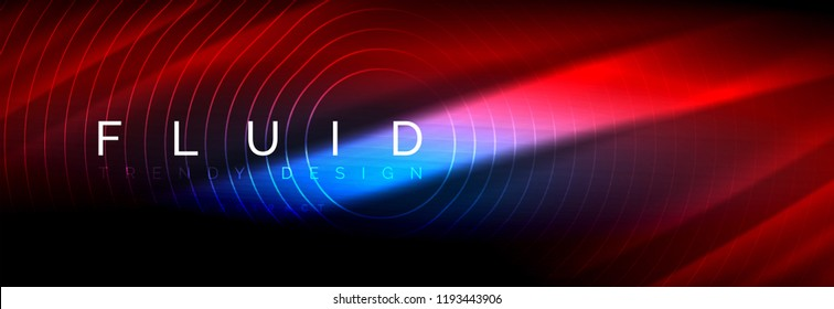 Neon glowing fluid wave lines, magic energy space light concept, abstract background wallpaper design, vector illustration