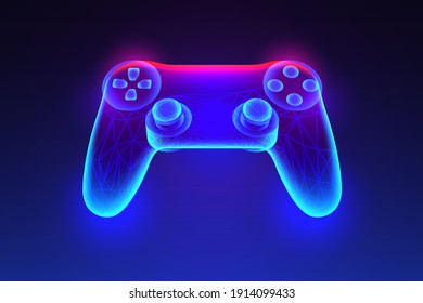 Neon glowing gamepad with polygonal mesh. Vector illustration