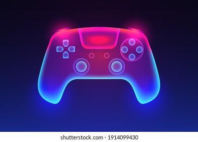 Neon glowing gamepad. Vector illustration