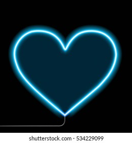 Neon glowing heart. Isolated on a black background. Stock vector illustration.