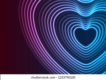 Neon glowing laser heart shape abstract background. St Valentines Day vector greeting card