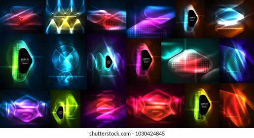 Neon glowing light abstract backgrounds collection, mega set of energy magic concept backgrounds. Vector illustration