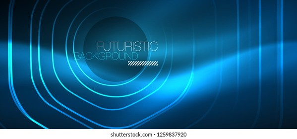 Neon glowing lines, magic energy space blue light concept, abstract background wallpaper design, vector illustration