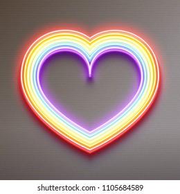 Neon glowing rainbow heart, LGBT pride, gay love, vector illustration design