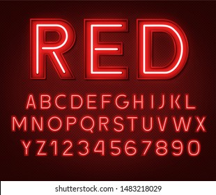 Neon glowing red 3d letters and numbers on a dark background.