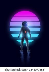 Neon glowing retro Astronaut Spaceman Background Design.