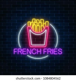 Neon glowing sign of burger in circle frame on a dark brick wall background. Fastfood light billboard symbol. Cafe menu item. Vector illustration.