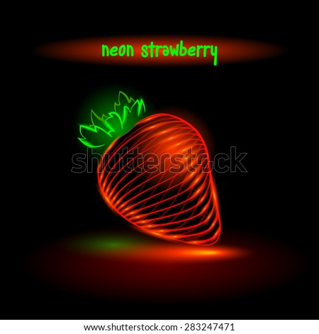 neon glowing strawberry, digital food.