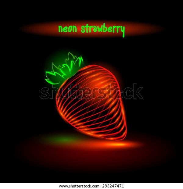 neon glowing strawberry, digital food.