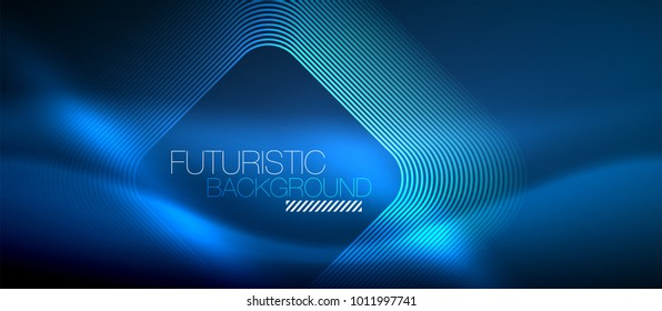 Neon glowing techno lines, blue hi-tech futuristic abstract background template with square shapes