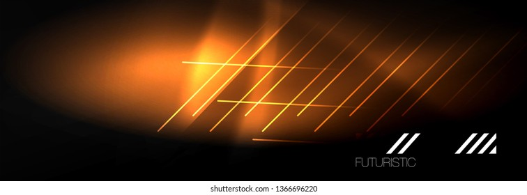 Neon glowing techno lines, hi-tech futuristic abstract background template with lines. Vector illustration