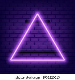 Neon glowing triangle on darkisolated. Vector illustration. Eps 10.