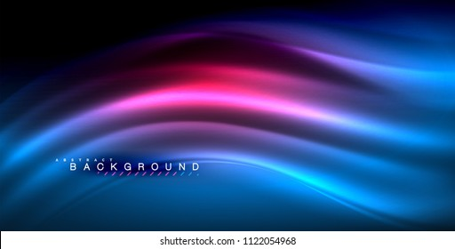 Neon glowing wave, magic energy and light motion background. Vector illustration