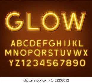 Neon glowing yellow 3d letters and numbers on a dark background.