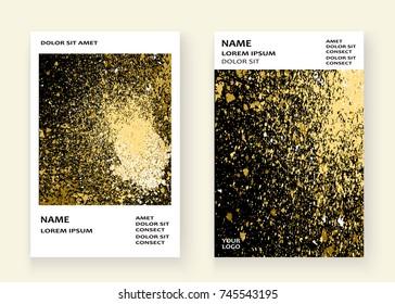 Neon gold explosion paint splatter artistic cover frame design. Decorative xmas splash spray texture black white background. Trendy template vector Cover Report Catalog Brochure Flyer Poster Banner