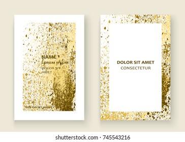 Neon gold explosion paint splatter artistic cover frame design. Decorative xmas splash spray texture white background. Trendy template vector Cover Report Catalog Brochure Flyer Poster Banner