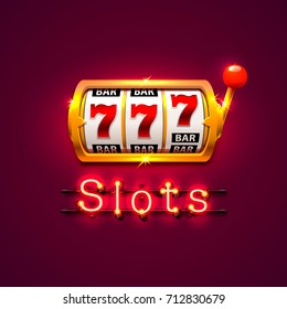 Neon golden slot machine wins the jackpot. Isolated on red background. Vector illustration